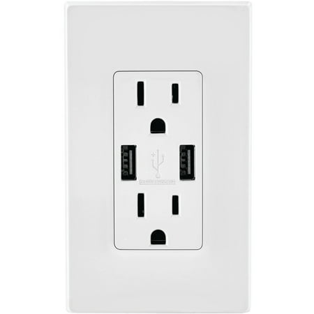 Leviton T5632-W Combo Duplex Receptacle and 15A USB Charger, White