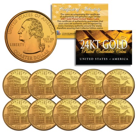 2001 Kentucky State Quarters U.S. Mint BU Coins 24K GOLD PLATED (LOT of 10)