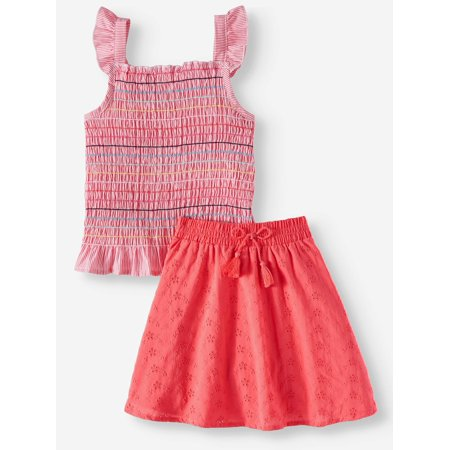 - Smocked Tank Top and Eyelet Scooter, 2-Piece Outfit Set (Little Girls, Big Girls & Big Girls Plus)