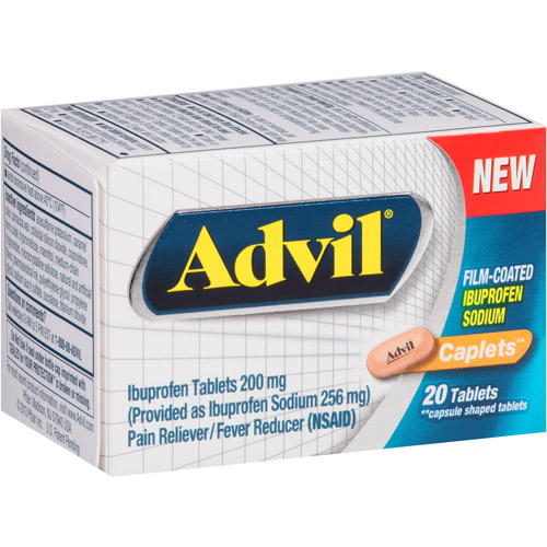 Advil Ibuprofen Pain Reliever/Fever Reducer Caplets, 200mg, 20 count