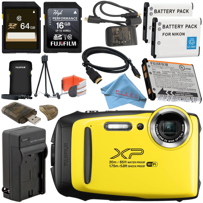 Fujifilm FinePix XP130 Digital Camera (Silver) #600019824 + Camera Floating Strap + EN-EL10 Replacement Lithium Ion Battery + MicroFiber Cloth Bundle