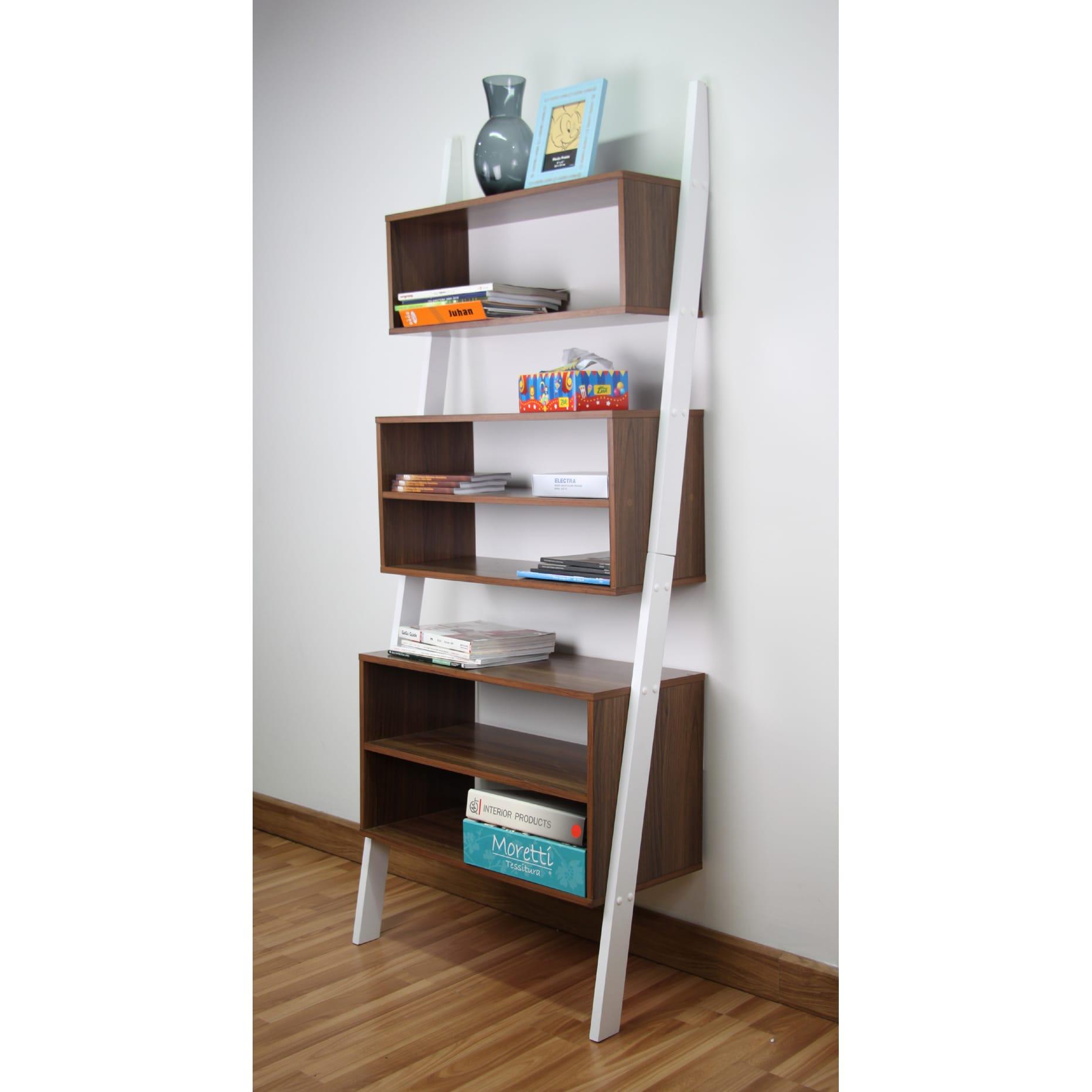 Mintra Corporation Oak Finished Wooden Leaning Shelf