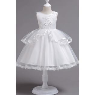 264b73f64aca Unomatch - Kids Girls Flower Decorated Sleeveless Round Neck Dress ...