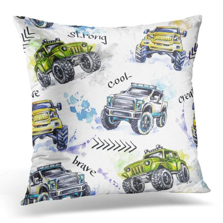 USART Watercolor Cartoon Monster Trucks Colorful Extreme Sports 4X4 Vehicle SUV Off Road Lifestyle Man's Hobby Pillow Case Pillow Cover 20x20 inch ()