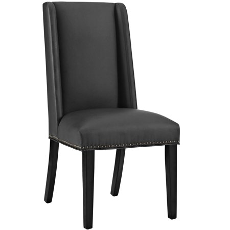 Modern Contemporary Urban Design Kitchen Room Dining Chair, Black, Faux Leather Black Leather Dining Room Chairs