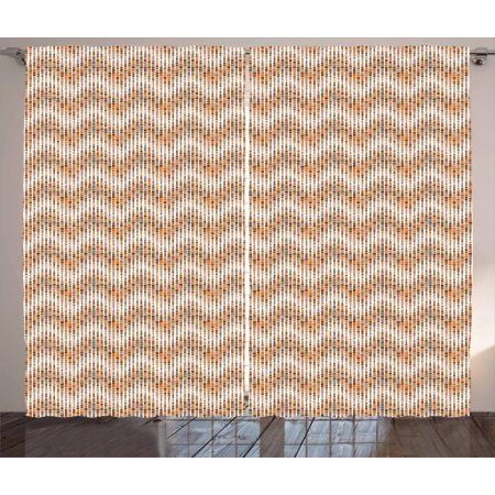 Waves Outdoor Mosaic Top (Earth Tones Curtains 2 Panels Set, Digital Mosaic Fractal Trippy Little Squares Forming Waves Abstract Graphic, Window Drapes for Living Room Bedroom, 108W X 108L Inches, Multicolor, by)