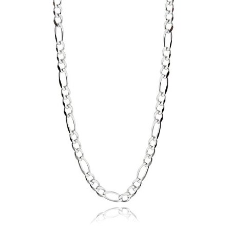 Italian 925 Sterling Silver 4mm Figaro Chain - 16, 18, 20, 22, 24, 30 Inches (16)