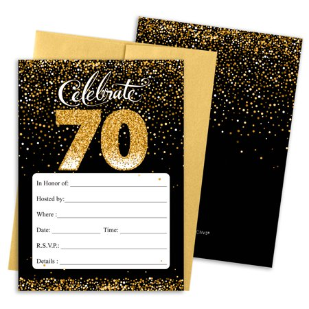 Transformer Party Invites (70th Birthday Party Invitations | 10 Cards | 5x7 Invites with Envelopes | Black and)