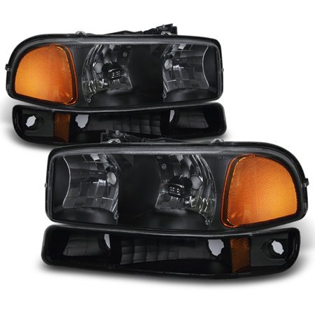 Fit 1999-06 GMC Sierra Yukon Black Headlights + Bumper Signal Lamps Replacement