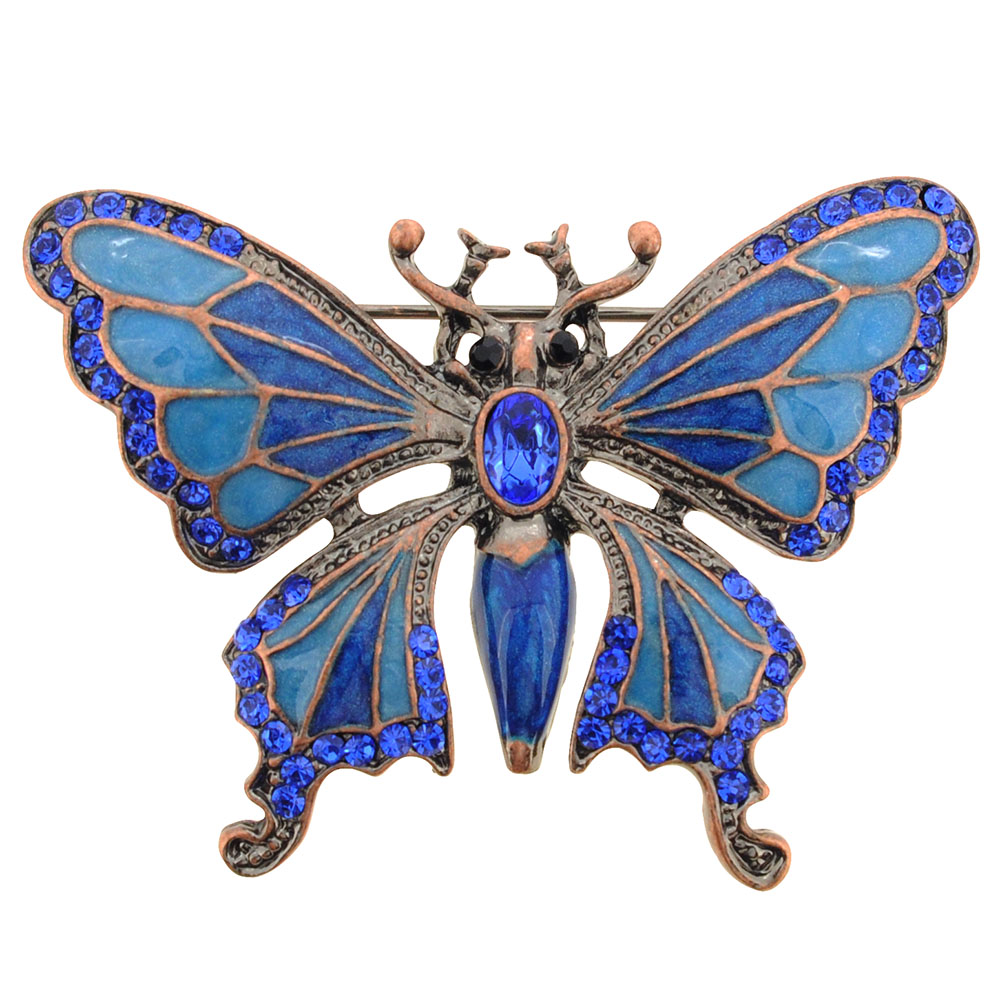 Vintage Style Sapphire Blue Butterfly Crystal Pin Brooch by