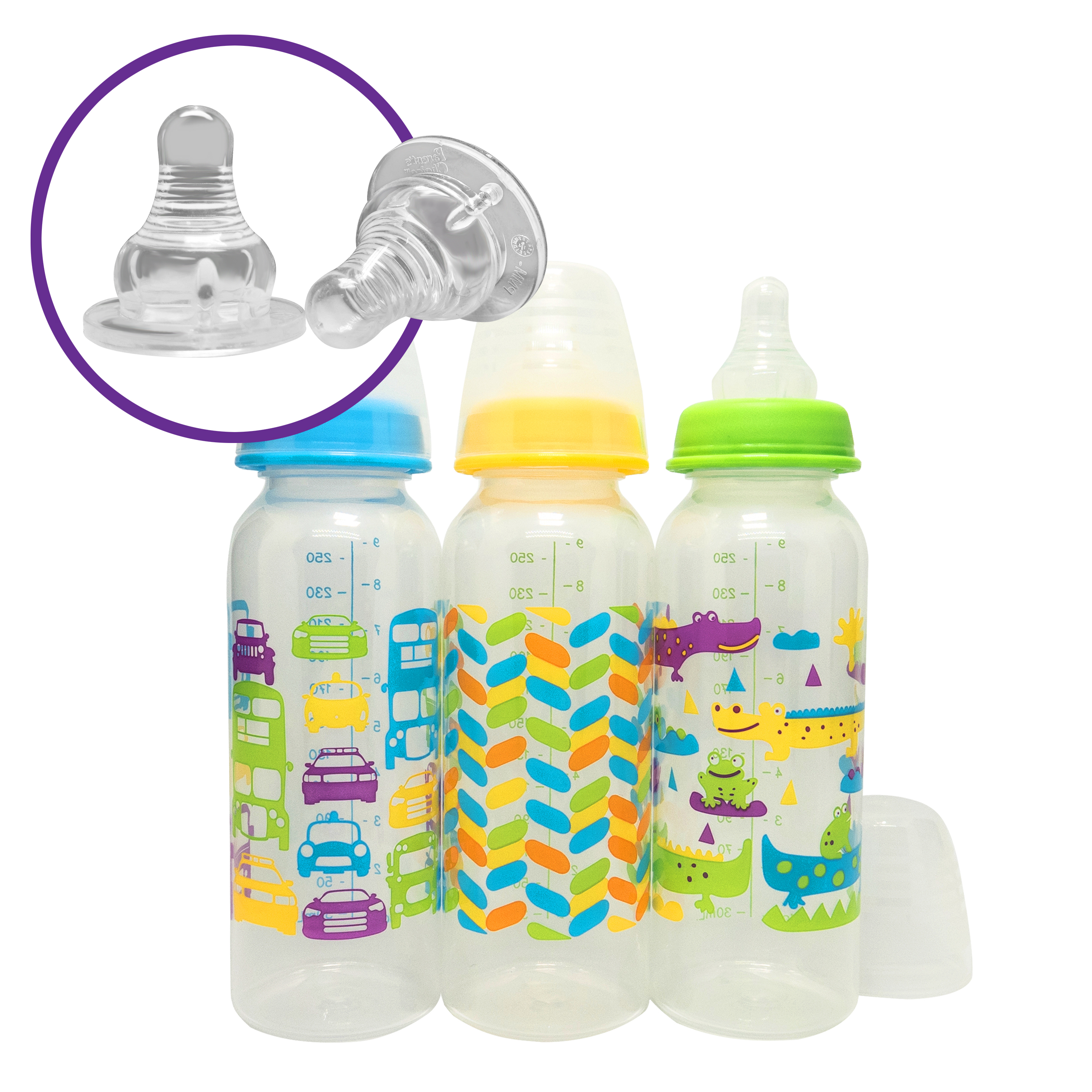 Parent's Choice BPA Free Baby Bottle - 9 oz (1 Bottle, Colors may vary)