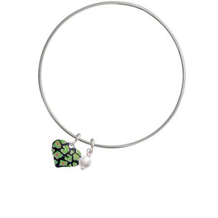 Lime Green Cheetah Print Heart - Imitation Pearl Bicone Bangle Bracelet - Lime Green Zoot Suit