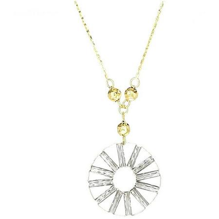 American Designs Jewelry 14kt Yellow Gold Diamond-Cut Round Circular Swirl Hanging Pendant Necklace, Adjustable 16