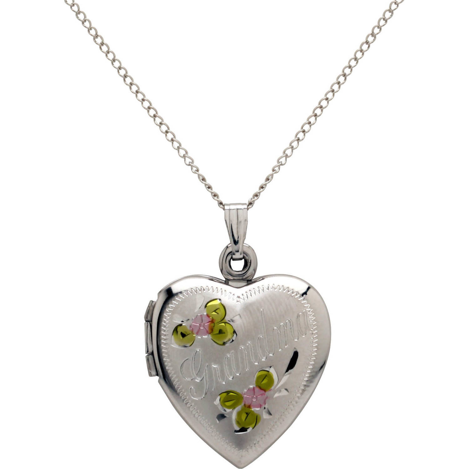 """Heart """"Grandma"""" and Painted Flowers Locket in Sterling Silver, 18"""" by Richline Group"""