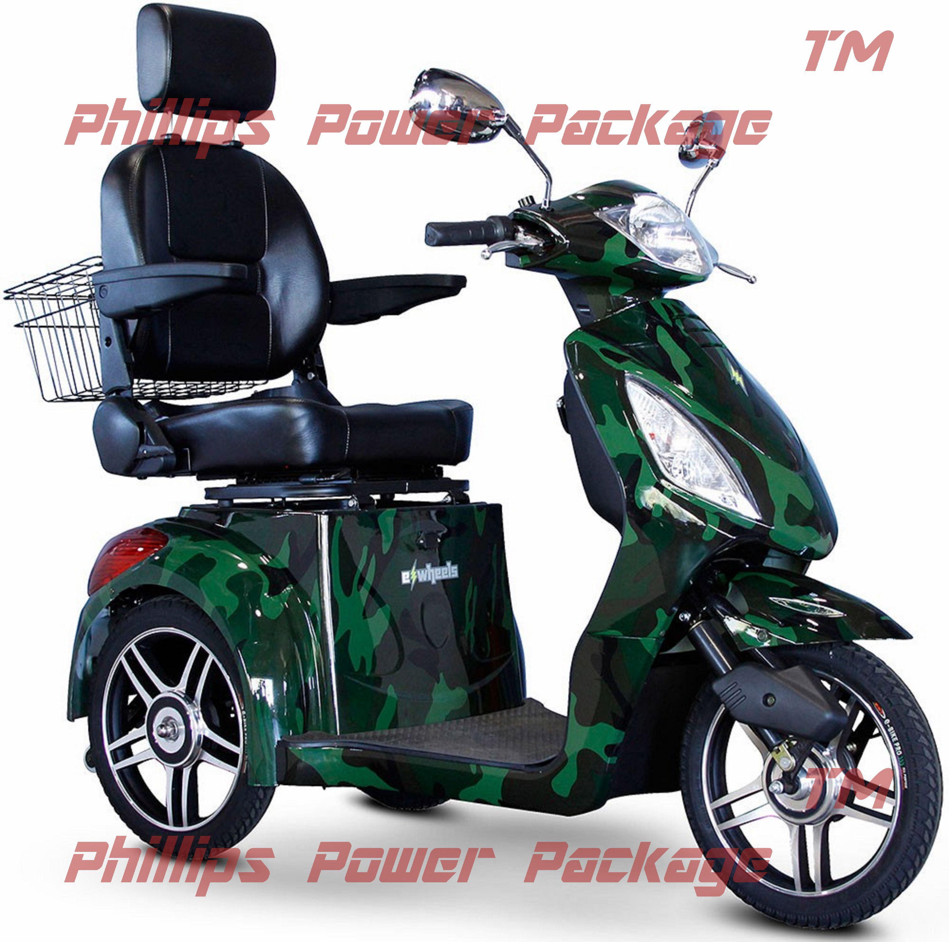 E-Wheels - EW-36 Elite Scooter with Electromagnetic Brakes - 3-Wheel - Camouflage