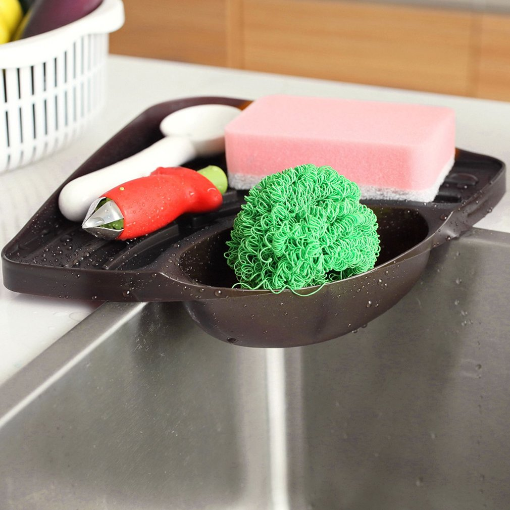 Trigonometry Shelf Kitchen Sink Dish Drain Rack Bathroom Soap Sponge Holder