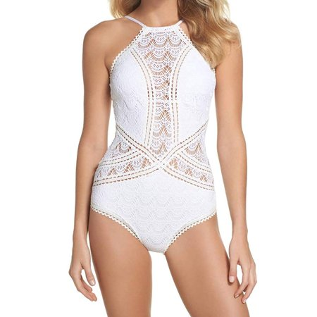 Becca by Rebecca Virtue Womens Color Play High Neck One-Piece (Medium, White) (Becca Color)