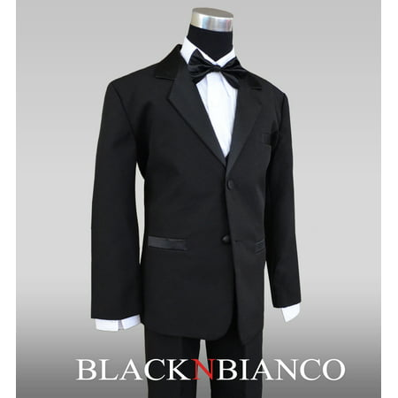 - Boys Kids Black Tuxedo Suit Bow Tie
