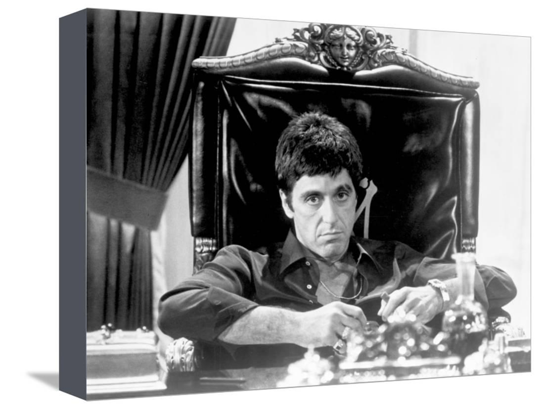 Al pacino siting on chair black and white portrait stretched canvas print wall art by movie