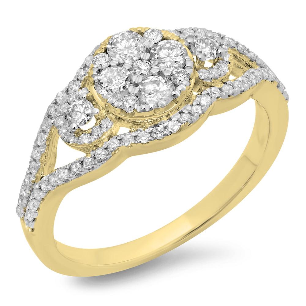 0.80 Carat (ctw) 14K Gold Round Cut Diamond Ladies Bridal Split Shank Cluster Engagement Ring 3/4 CT