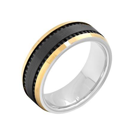 Men's Cobalt Black and Gold-Tone IP Wedding Band - Mens Ring (Amber Mens Ring)