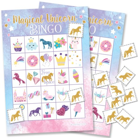 Magical Unicorn Party Game for 24 Players - Rainbow Unicorn Birthday Party Supplies - 24 Bingo Cards with Chips - Game Of Thrones Party Supplies