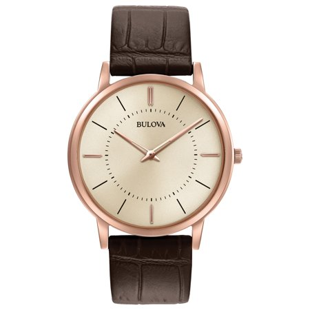 Bulova Men's Classic Warm Grey Dial Rose Gold Plated Steel Brown Leather Strap Ultra-Slim Watch 97A126