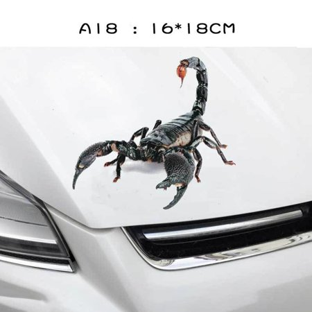 3D Car Stickers Animals Bumper Stickers Spider Lizard Scorpions Decor Car-styling Sticker Auto Motorcycle Decorations - image 2 de 7