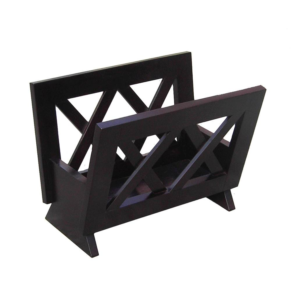 Contemporary Style Mahogany Finish Solid Wood Magazine Rack