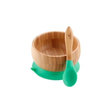 Avanchy Bamboo Stay Put Suction Baby Bowl + Spoon Green ()