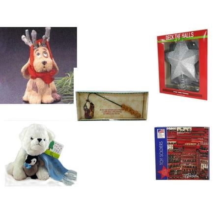 Christmas Fun Gift Bundle [5 Piece] - Hallmark Reindoggy Ornament QX4527 - Deck The Halls Silver Star Tree Topper 11.5