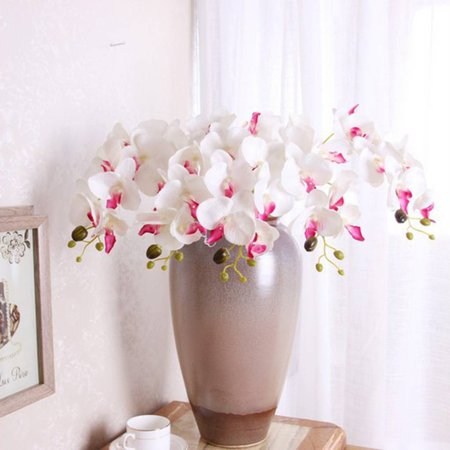 Holiday Clearance Silk Artificial Flowers Phalaenopsis Orchid Flower Stem Bouquet Party Home Garden Decor