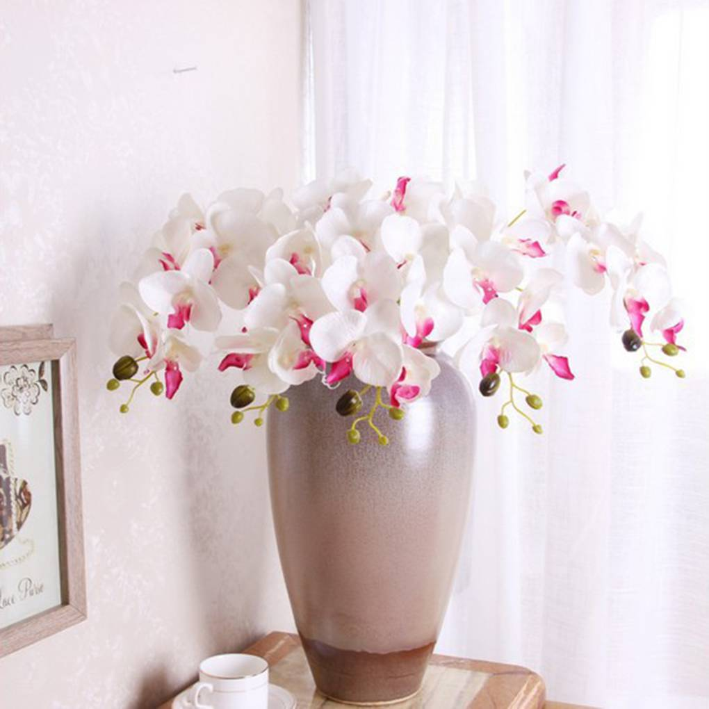 Silk Artificial Flowers Phalaenopsis Orchid Flower Stem Bouquet Party Home Garden Decor