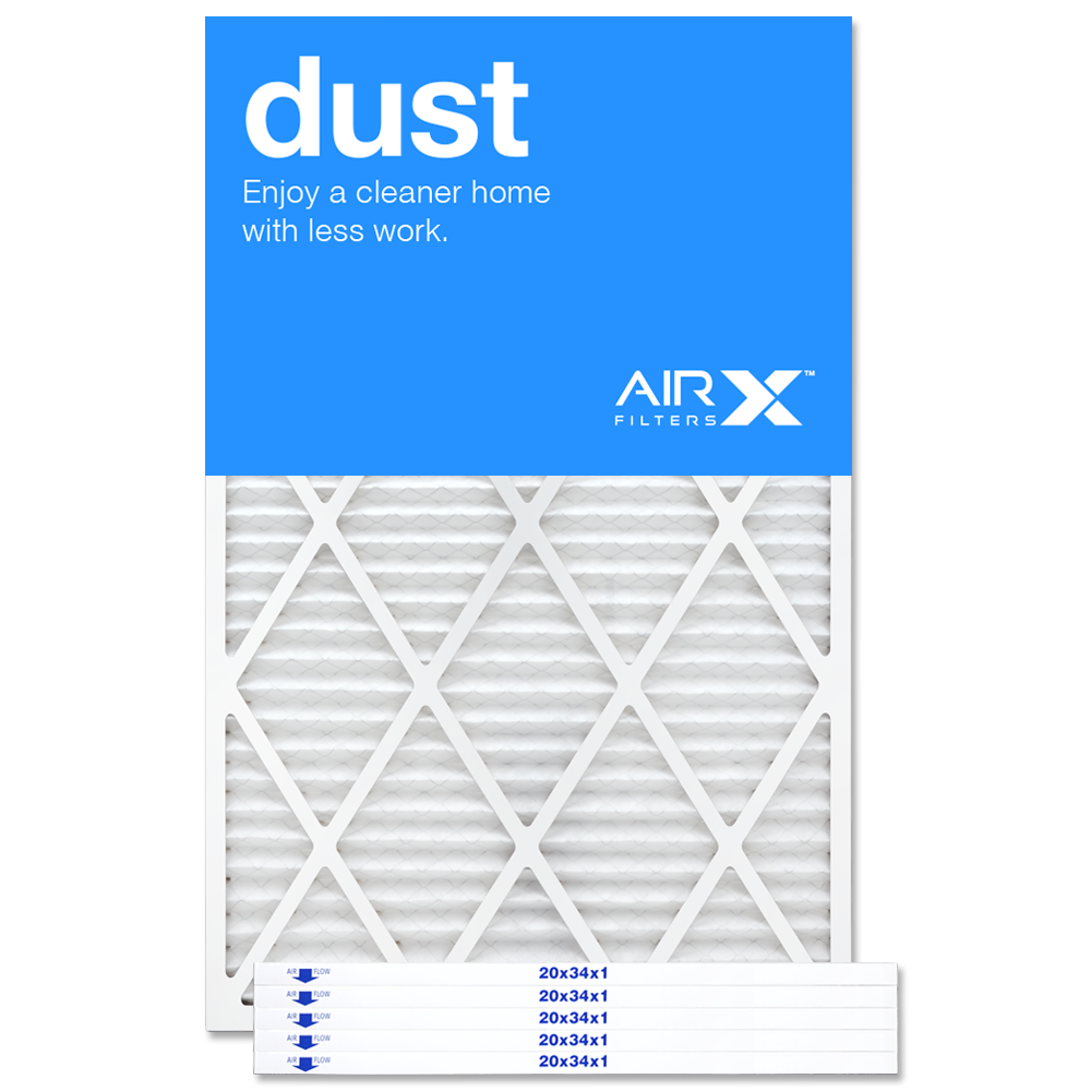 AIRx Filters Dust 20x34x1 Air Filter MERV 8 AC Furnace Pleated Air Filter Replacement Box of 6, Made in the USA