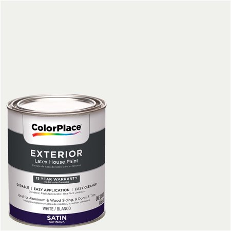ColorPlace Exterior Paint, White, Satin, 1 Quart