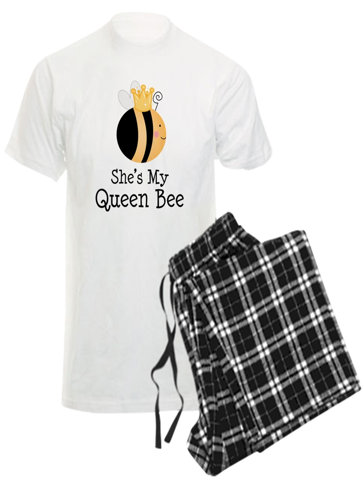 CafePress Shes My Queen Bee Couples Mens Light Pajama Set
