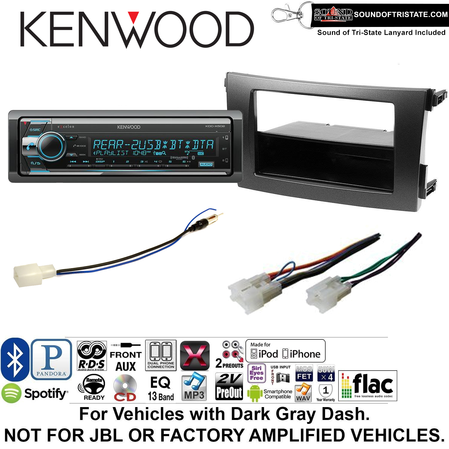 Kenwood KDCX502 Double Din Radio Install Kit with Bluetooth, CD Player, USB/AUX Fits 2009-2013 Non Amplified Toyota Corolla (Dark Gray) and a SOTS lanyard included