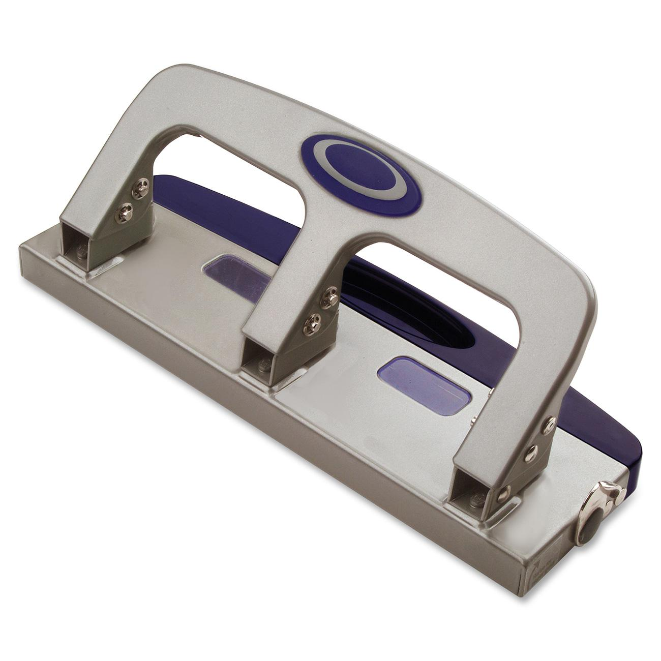 Officemate OIC Deluxe Medium Duty 3-Hole Punch with Chip Drawer, Silver and Navy, 20-Sheet Capacity (90102)