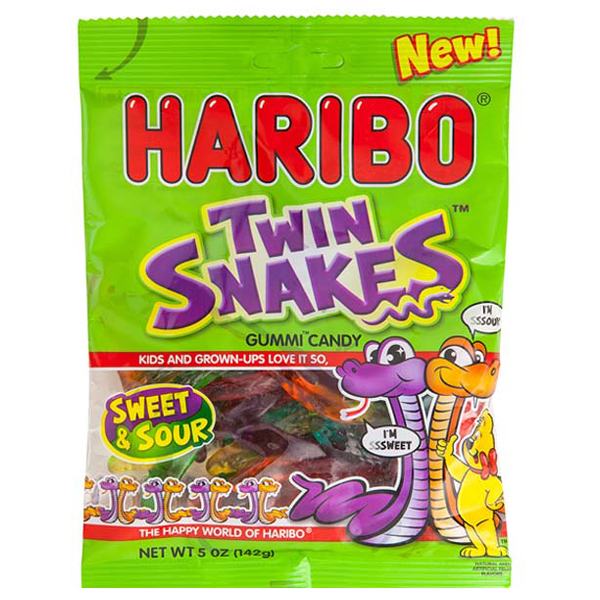 Haribo Twin Snakes Gummi Candy 5 oz Bags - Pack of 3