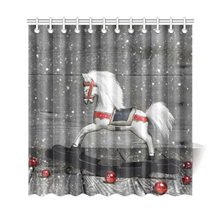 WOPOP Old Wooden Horse Shower Curtain Shabby Chic Christmas Red Balls Polyester Fabric Bathroom Sets With Hooks 66x72 Inches