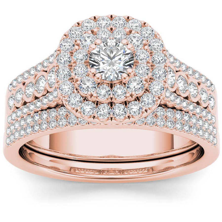 Imperial 1 Carat T.W. Diamond Double Halo 10kt Rose Gold Engagement Ring Set by Imperial Jewels