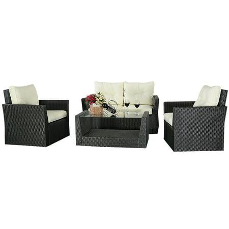 Costway 4pc Rattan Sofa Furniture Set Patio Garden Lawn Cushioned Seat Black Wicker Black