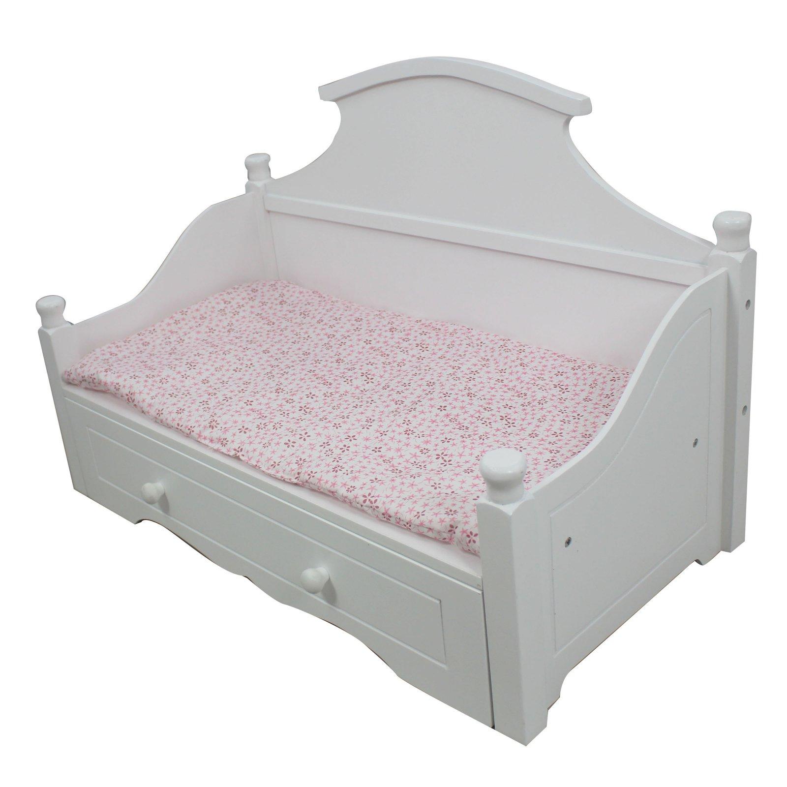 Olivia's Little World - Princess White Trundle Bed with Pink Floral Mettress Wooden 18 inch Doll Furniture
