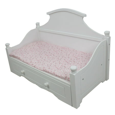 Remarkable Olivias Little World Princess White Trundle Bed With Pink Floral Mettress Wooden 18 Inch Doll Furniture Home Interior And Landscaping Ologienasavecom