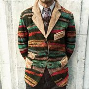 Mens Party Business Gradient Print Button Pockets Corduroy Suit Coat Jackets