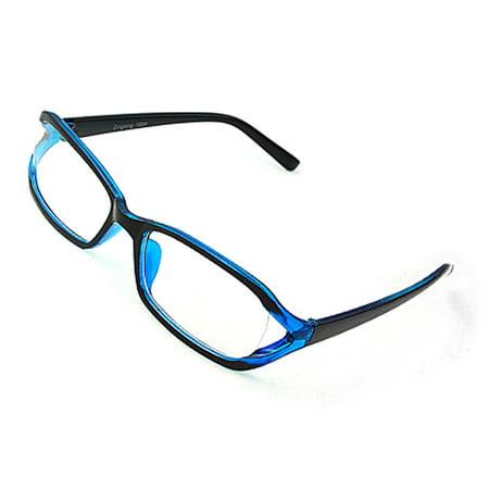 Glasses Frames Blue : Black Blue Frame Clear Lens Glasses Plastic Eyeglasses ...