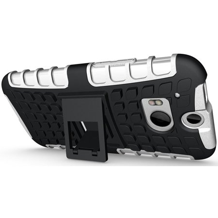 NAKEDCELLPHONE WHITE GRENADE GRIP RUGGED TPU SKIN HARD CASE COVER STAND FOR HTC ONE M8 2014  (AT&T, T-Mobile, Sprint, Verizon, Unlocked) - image 3 of 4