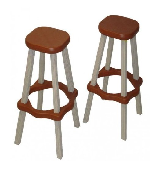 "2 Leisure Accents 26"" Tall Barstool Patio Set Outdoor Indoor Redwood/Gray - Pair"