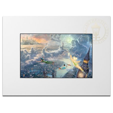 Thomas Kinkade Tinker Bell and Peter Pan Fly to Neverland - Matted Print (Unframed)