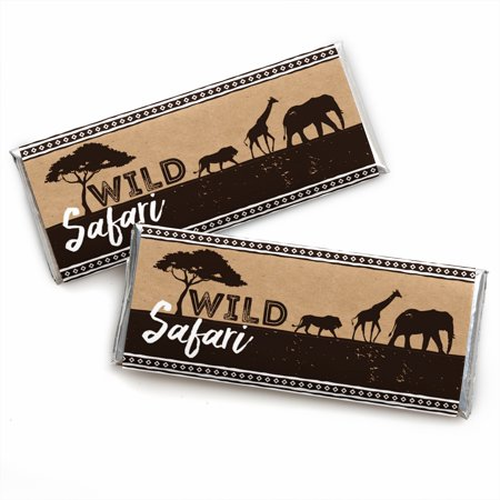 Wild Safari - Candy Bar Wrapper African Jungle Adventure Birthday Party or Baby Shower Favors - Set of 24 (African American Baby Favors)